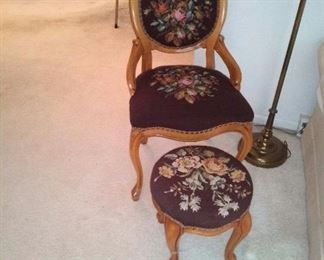 Needlepoint chair and otteman