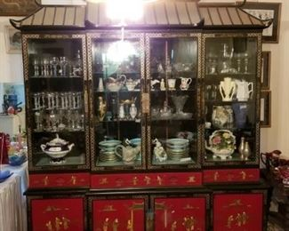 Awesome  lighted Chinese cabinet with jade figures