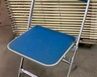 375 Silver Metal Frame Chairs with Blue Upholstered Seat