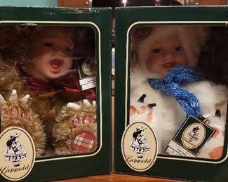 Lot of Geppeddo Cuddle Kids Animal Doll W/ Porcelain Face ~ Benjamin Bear & Polar Pete
