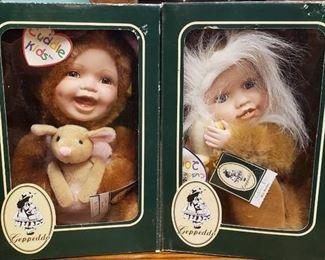 Lot of Geppeddo Cuddle Kids Animal Doll W/ Porcelain ~ Roxi Roo & Milo Monkey ~ NIB