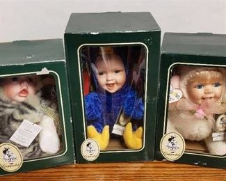 Lot of 3 Geppeddo Cuddle Kids Animal Doll W/ Porcelain Face ~ Kristi Kitty, Patricia Peacock and Angelle Angel ~ NIB