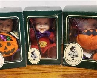 Lot of 3 Geppeddo Cuddle Kids Halloween Doll W/ Porcelain Face ~ Spooky Sylvia, Lil' Devil and Scary Susan in Box
