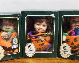 Lot of 3 Gepeddo Doll Cuddle Kids Halloween ~ Scary Susan, Batty Bobbie and Patrick Pumpkin in Box