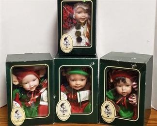 Lot of 4 Geppeddo Cuddle Kids Christmas Doll W/ Porcelain Face ~ Jack Frost, Jolly Holly, Emerson Elf and Jolly Johnathon in Box