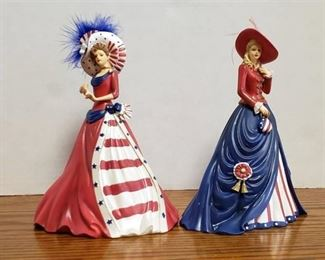 Lot of 2 Thomas Kinkade Freedom's in Fashion Collection Figurines ~ No. 1349A & 1426A ~ 7 in. tall