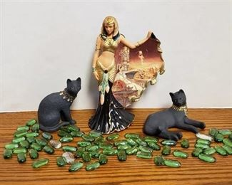 Lot of Figurines ~ Cleopatra by Bradford Exchange No. A3133 and Pair of Jeweled Ebony Cat Figurines by Lenox