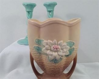 Hull Vase and Unmarked Candle Sticks