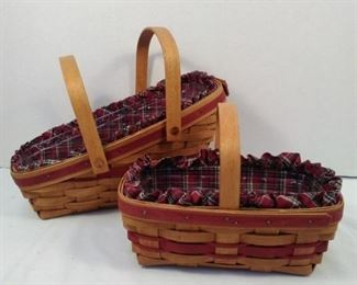 LONGABERGER SLEIGH YULETIDE TRADISTIONS BASKET WITH LINER AND PROTECTOR