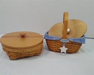 longerberger 2 baskets with lids