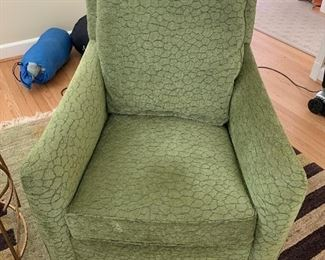 Pair of green upholstered Stanford arm chairs in great condition.  $1500