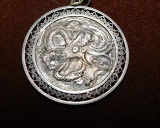 Antique Chinese Repousse Silver Medallion