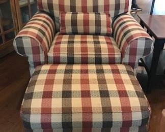 """Ethan Allen"" side chair and matching ottoman - very good condition"
