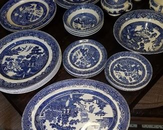 42 pieces of blue willow $200
