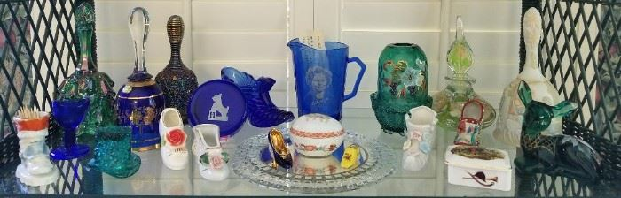 Green Fenton glassware, Shirley Temple Pitcher and Miscellaneous Porcelain