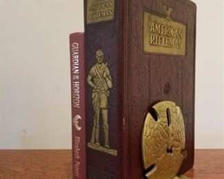 1942 Leather Bound American Rifleman Magazines, Brass Sand Dollar Bookends, Guardians of the Horizon Book