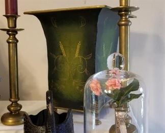Brass Candlesticks, Planter, Black Milk Glass Swan and Silver Art Vase in Dome
