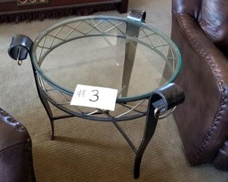 """#3 ~($150) Glass top  end table with iron frame and legs, brass accents.  26"""" diameter x 26"""" high."""