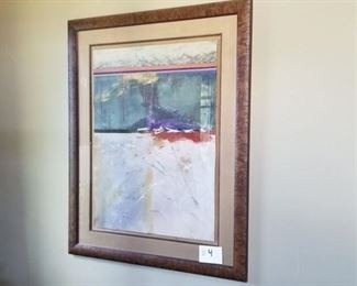 """#4 ~($300)  Large abstract art with beautiful wood frame, artist unknown, 53"""" x 64""""."""