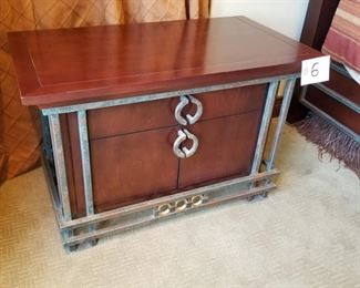 """#6 ~ ($150) Night stand Mahogany with metal and iron accents.  1 drawer and lower cabinet.  Wear seen on the top.  Comes with glass top to protect wood.  36""""W x 20""""D x 23.5""""H."""