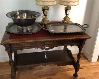 Antique table Silver plate punch bowl and serving tray