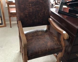 Leather chair is hand stitched