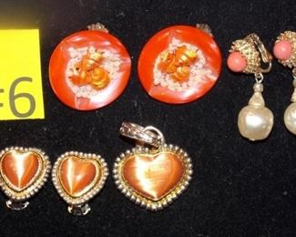#6  3 sets of clip on earrings, on necklace heart charm.  $5 a set. Go to Tas-Estate-Sales.com to purchase.