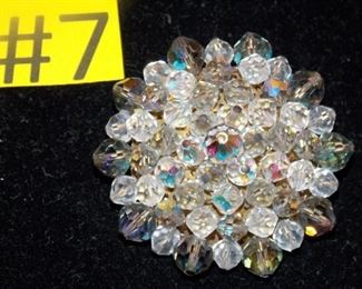 #7 Vintage Crystal Brooch, 2x2 clasp in good condition $25 go to Tas-Estate-Sales.com to purchase