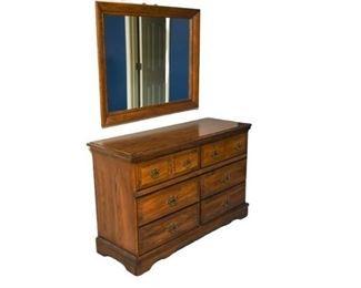 3. Wood Framed Mirror and Dresser