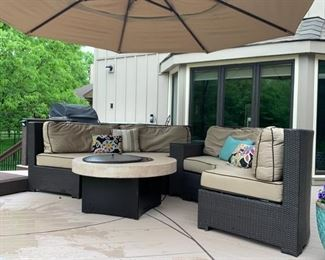 AVAILABLE FOR PRESALE! SOLD!3 piece Wicker Rattan Sectional with Sunbrella Cushions. Set includes 2 Round sectional sofas and one arm table with glass top $898.