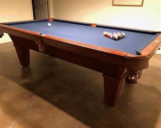 AVAILABLE FOR PRESALE! Cannon 8ft Pool Table with Blue Felt Top and Leather Pockets. All accessories included. $950.