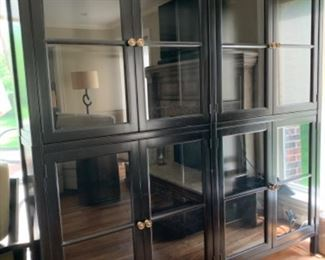 AVAILABLE FOR PRESALE! Black Hickory White Cabinet with with glass shelves and interior lighting.  76 W x 15 3/4D x 84 1/2 H. Top and bottom pieces.  $2800.