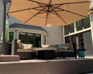 AVAILABLE FOR PRESALE! SOLD!Treasure Garden Cantilever 13' Octagon Crank Lift Patio Umbrella .