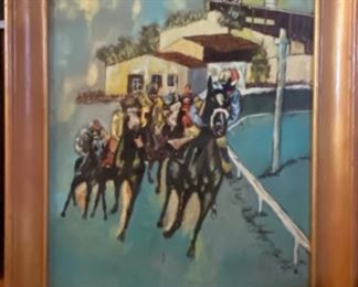 1940's oil painting of horses at Del Mar Race Track