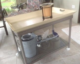 """Coffee table or cart...metal with castors.  Measures 30"""" long x 18"""" wide x 24"""" tall.  Presale $55."""