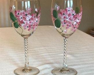 """2 pink floral glasses, 8""""H,   $7"""