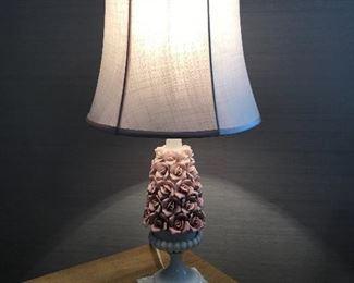 """Ceramic pink rose lamp w/ marble base,  21""""H,  $32"""