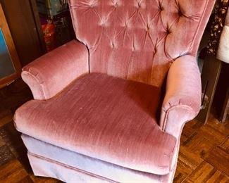 Pink swivel arm chair,  $99