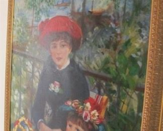 "$115.00 Renoir Oil Reproduction ""Two Sisters"" 45 x 38"