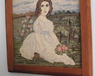 $75.00  Hook & loop  of Renoir's Girl with flowers 21 x 18.5