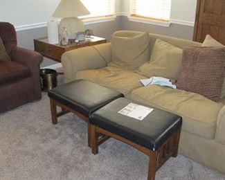 Family room suite. Priced individually. $20.00 Burg. Chair, $100.00 Gold Sofa Not for Sale. (Faux leather foot stools are SOLD)