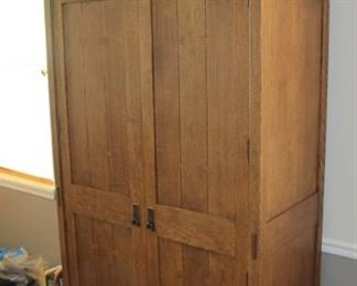 $600.00 Stickley wardrobe with closet rod and 2 bottom drawers 77 x 42.5 x 21.5