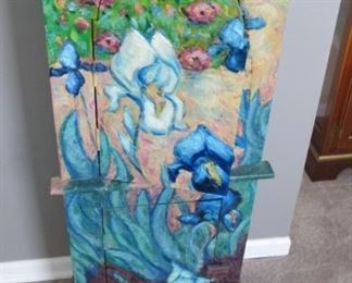 $45.00 Hand Painted Van Gogh style cabinet 43 x 18.5 x 9
