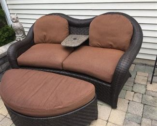 $295.00 Rattan 6 ft Loveseat & table w/cushions