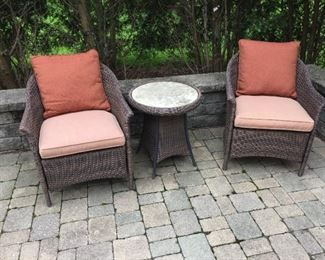 $195.00 Pair Rattan chairs with table & cushions