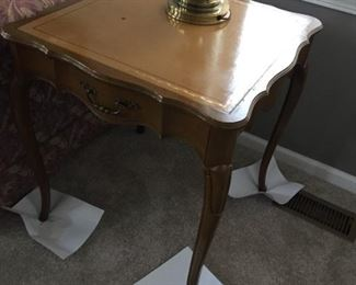 $200.00 Pair of Leather top mid century country french end tables. 26 x 24 x 24