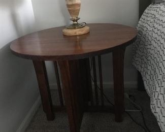 $40.00 Mission style table 26 x 30 and $65.00 for the marble stiffel lamp