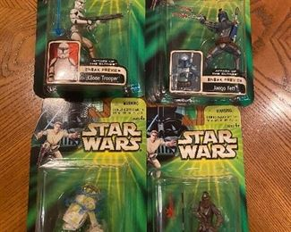 Star Wars Attack of the Clones Action Figures: Clone Trooper, Jango Fett, R3-T7, Zam Wesell
