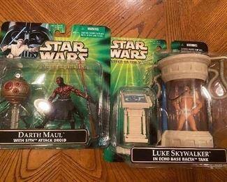 Star Wars Action Figures; Darth Maul(w sith attack droid), Luke Skywalker(in echo base bacta tank)