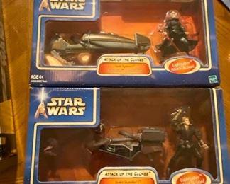 Star Wars Attack of the clones Action Figures: Anakin Skywalker SAGA- Swoop Bike, DARTH TYRANUS' GEONOSIAN SPEEDER BIKE.  $25 for both